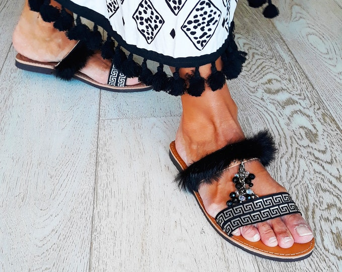 """Handmade to order sandals, Ancient Greek leather  flats """"Agapi""""."""