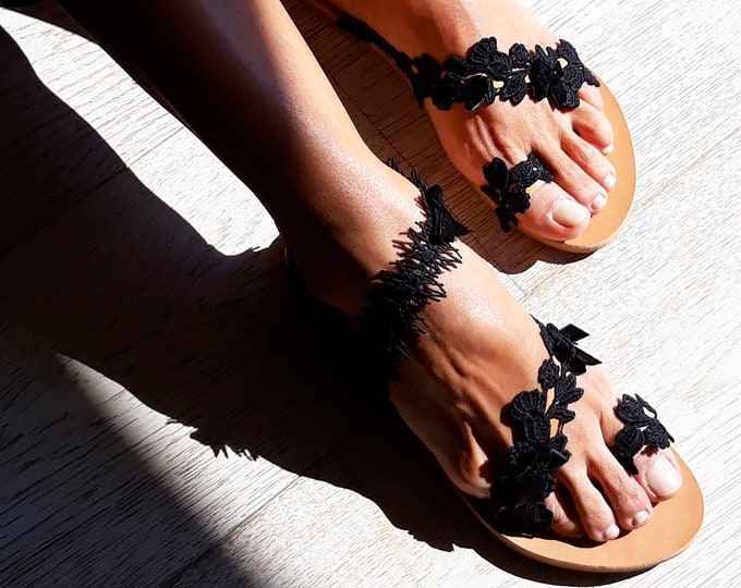 """Classy """"Areti"""" Greek Leather sandals, Slingback embellished shoes, Decorated handmade to order flats"""