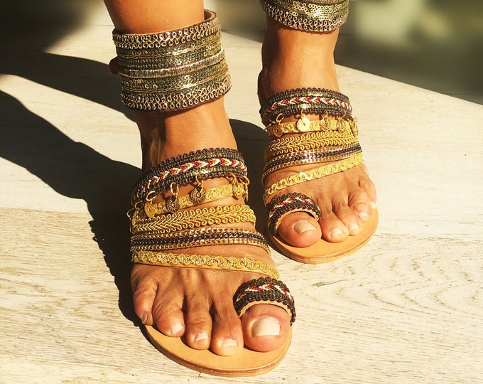 "Boho Greek Leather sandals, Handmade to order flats, Embellished and Luxurious ""Grace"" sandals, ethnic shoes"