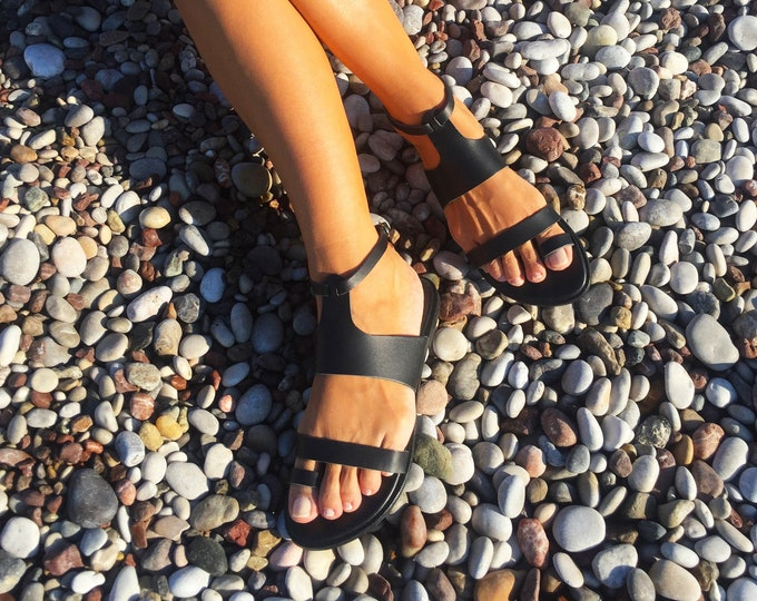 "Boho black Leather sandals, Handmade to order women shoes,Ancient Greek Artisanal sandals ""Eftixia 2"""