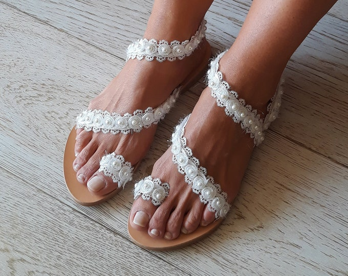 "Wedding Greek Leather sandals, Handmade to order boho flats, Embellished and Luxurious ""Hydra"" sandals"