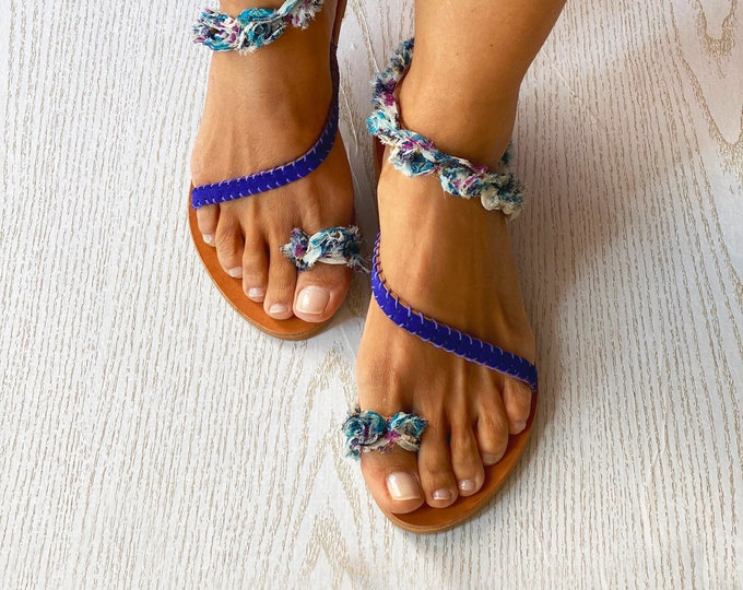"Sandals Women,Purple/Blue Leather Sandals,Greek Sandals,Gladiator Sandals,Gift for Her,""Purple Orchid"" Ancient Greek sandals,Made in Greece."