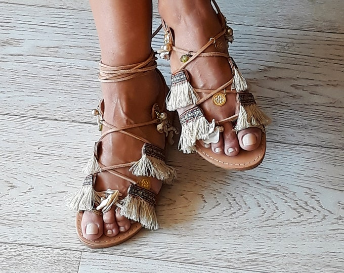 "Gladiator Greek Leather sandals, Decorated Boho flats, Handcrafted Embellished ""Iokasti""  sandals, Handmade to order shoes"