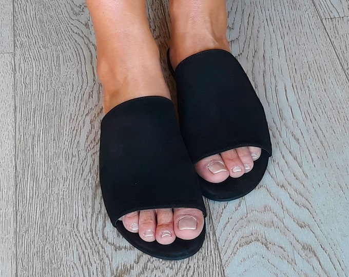 "Black suede Greek sandals, Handmade to order shoes,  ""Fano"" open mule flats"