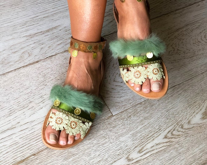 "Green Ethnic Sandals ""Stella"", Handmade to order Greek Leather Sandals, Decorated Flower flats, Bohemian womens shoes"