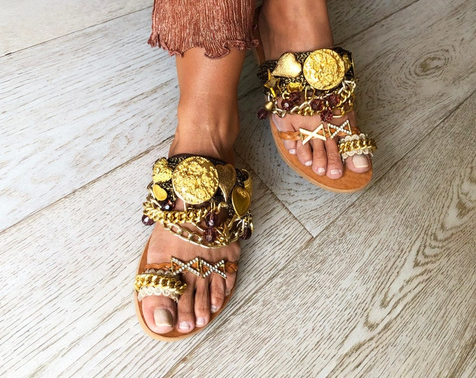 "Greek Leather Handmade to order Luxurious Sandals ""Helios"", Limited edition, Decorated Statement Sandals"