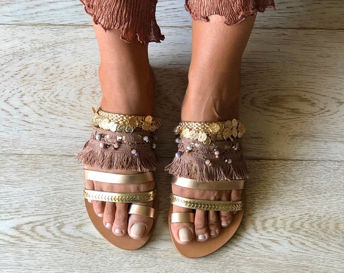 "Leather slingback sandals, Handmade to order Greek Boho flats, ""Melina"" sandals, Luxurious Decorated shoes"
