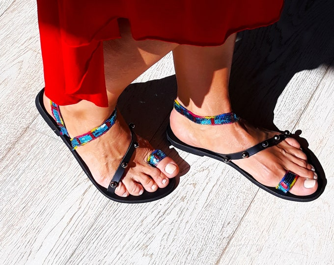 """Classy Greek Leather sandals, handmade to order flats, Greek """"Melitta"""" sandals, Decorated shoes"""