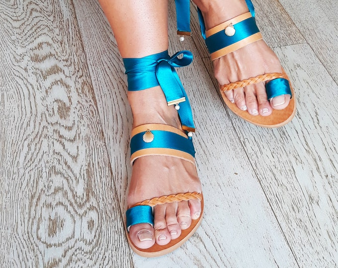 "Handmade to order Sandals ""Anafi"", Greek Leather Embellished Sandals, Boho decorated flats, Ethnic Festival Shoes"