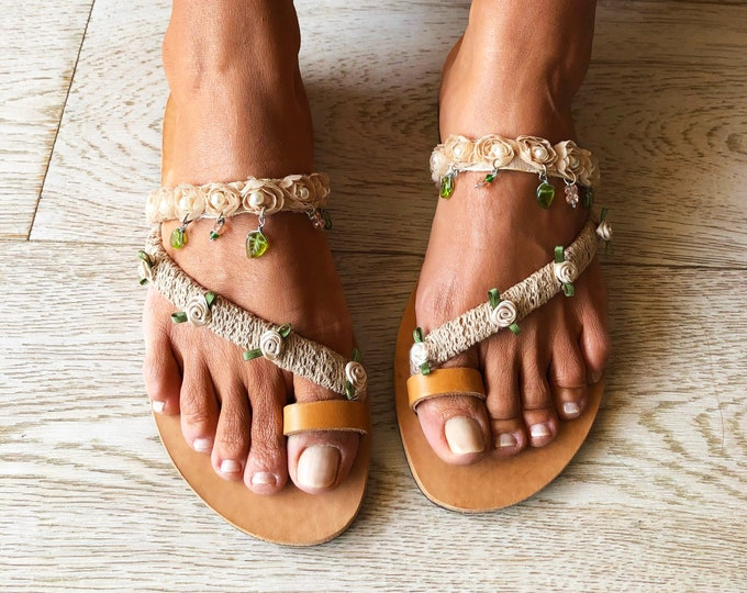 "Handmade to order Wedding sandals, Greek leather bridal flats ""Lily"", Romantic beige flower sandals"