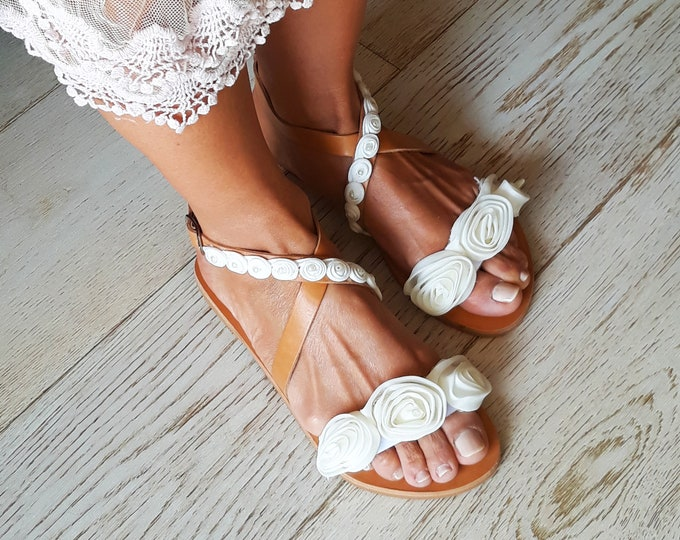 "Wedding white flower sandals, Decorated handmade to order flats, ""Dioni"" sandals."