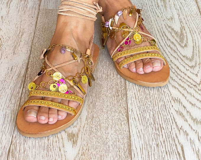 "Greek Leather Sandals ""Gipsy Dream"", Handmade to Order flats, Decorated Boho Sandals, Festival Shoes"