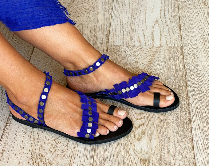 "Ancient Greek Leather Sandals, Handmade to order Black and Purple Boho Artisanal sandals, Purple suede embellished  flats ""Artemide"""