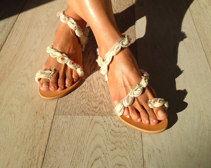 "Wedding Greek Leather sandals, Bridal handmade to order flats, Decorated Boho ""Keira"" sandals,"
