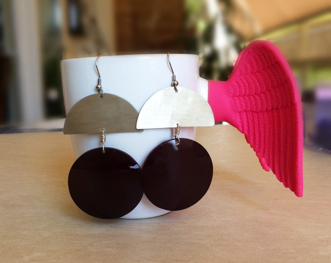 Statement Alpaca Boho Earrings with matte Alpaca semicircle and a sunglass's lens, Gift for Her, Unique Earrings with Sterling silver Hoop