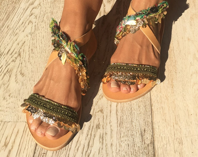 """Leather flat sandals, Greek Handmade to order sandals,  Decorated Green""""Bette""""sandals, Free shipping."""