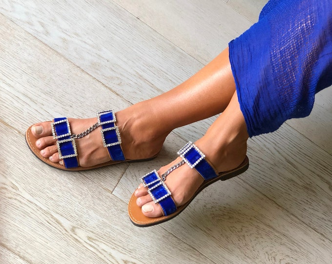 "Handmade to order Greek Leather  sandals, Luxurious Royal Blue flats ""Olga""with velvet ribbons, Embellished elegant flats."
