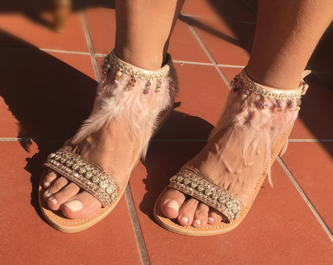 Brigitte Romantic and Bohemian Leather pink sandals, Handmade to order decorated Greek sandals