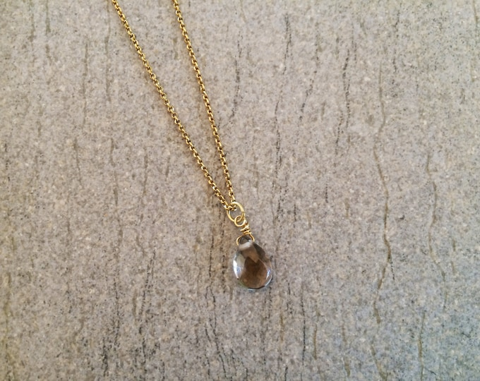 Smoky Quartz drop pendant.Sterling silver pendant with smoky Quartz stone.Statement Pendant, Gold filled silver chain and wire,Gift For Her