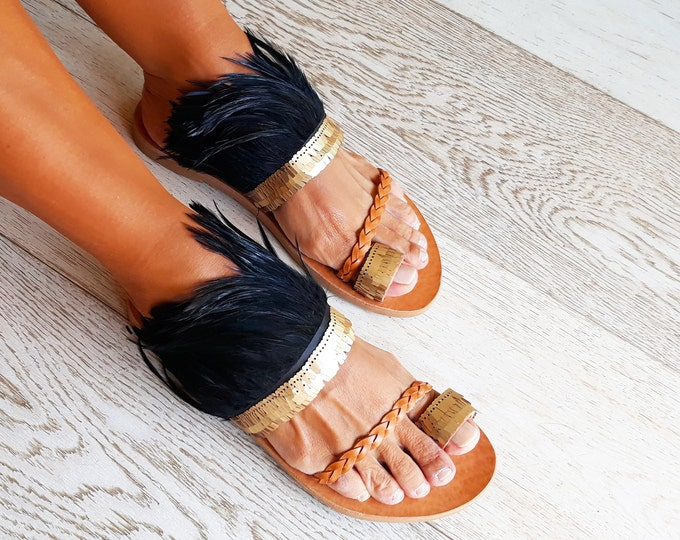 Bohemian stylish Greek leather sandals Crete. Handmade to order. Statement artisanal decorated sandals.