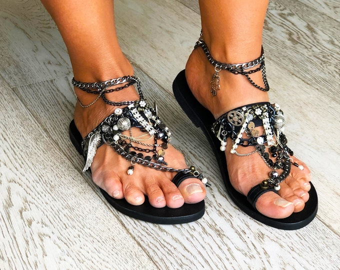 "Black handmade to order Greek Leather sandals,  Embellished luxurious "" Elsa"" sandals, Statement women shoes."