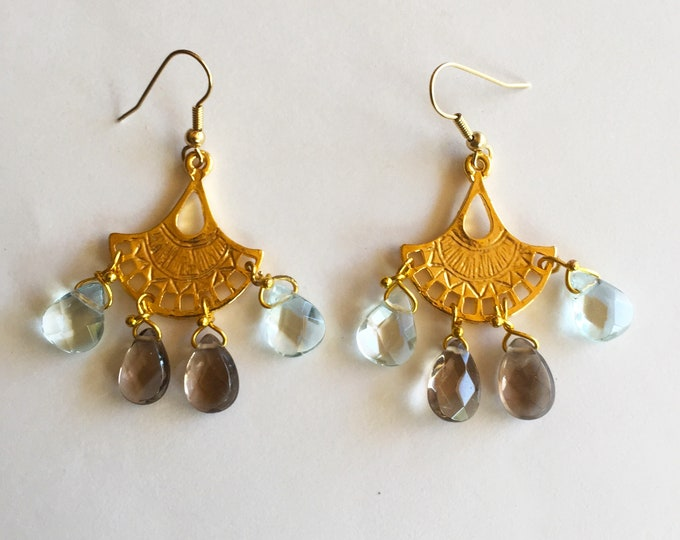 Handmade dangle and drop bronze-gold earrings with grey quartz and aqua crystal drops, Statement Aztec style earrings, Bohemian earrings.