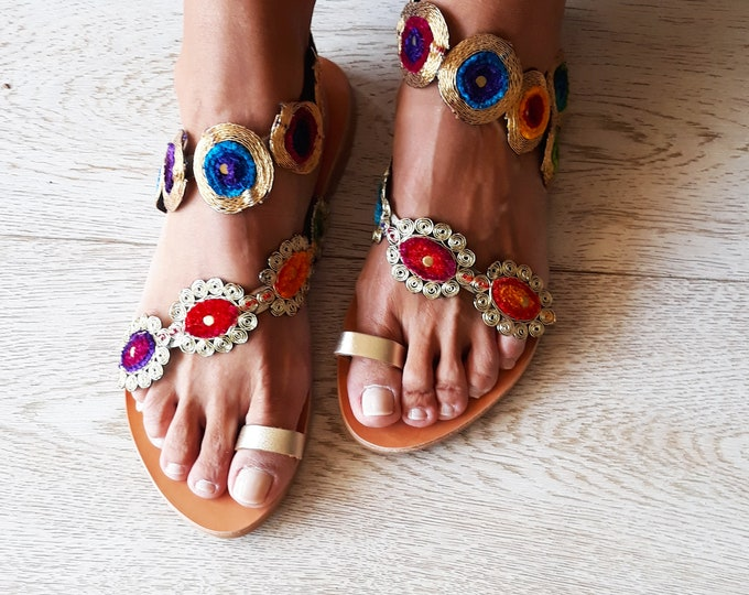"Boho Leather sandals, Handmade to order, Greek Artisanal sandals, embellished ethnic flats ""Myconos"""