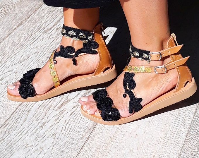"""Bohemian decorated Greek leather sandals,hippy chic style, Handmade to order black and gold luxurious """"Themis"""" sandals"""