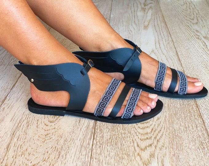 Sandals, Women leather sandals, Ancient Greek sandals, Leather sandals, Black sandals, Sandales grecques Hermes
