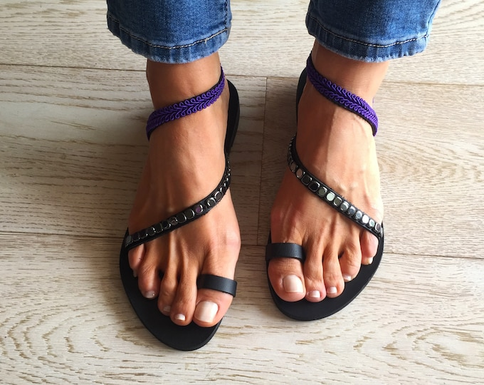 "Simple yet so elegant Greek leather sandals, Handmade to order summer shoes, Decorated ""Ikaria""  sandals"
