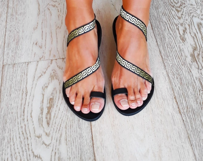 "Ancient Greek Handmade to order sandals, Black Decorated Black ""Zante"" summer flats."