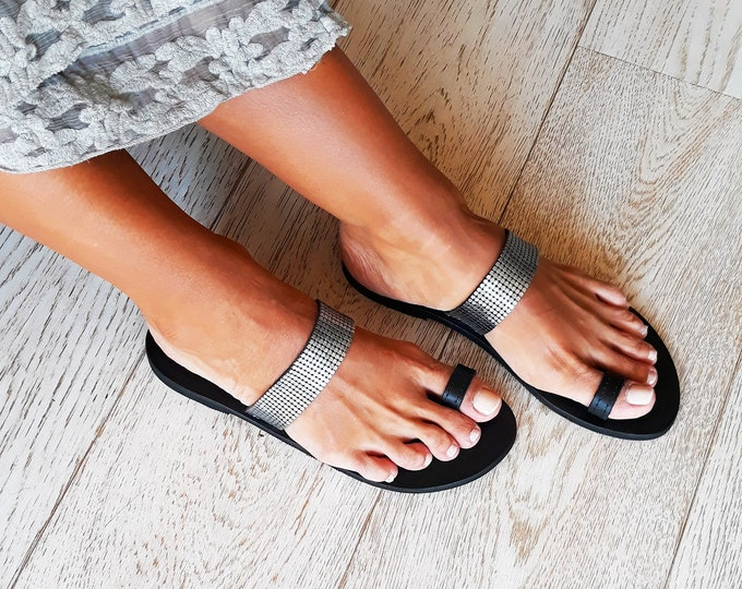 "Handmade to order Greek Leather Sandals, Decorated Black flats, Summer statement Sandals ""Ioli"","