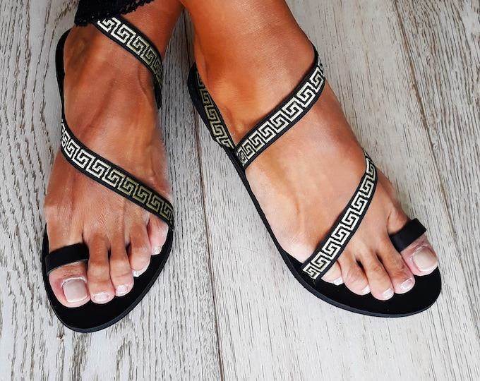 "Ancient Greek Handmade to order sandals, Black Decorated Black ""Anthemis"" summer flats."
