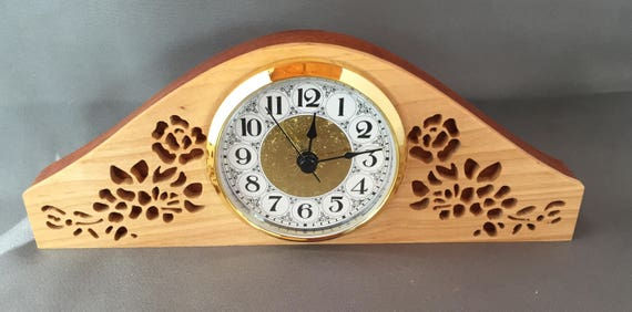 Clock Mantel Clock Wood Item Handmade Home Decor Desk Item Decorative Frame Roses On Clock Face Timepiece Keeping Time Special Gift