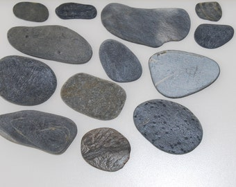 Flat, grey genuine beach stone, jewelry making, decorating, crafting, party decor.