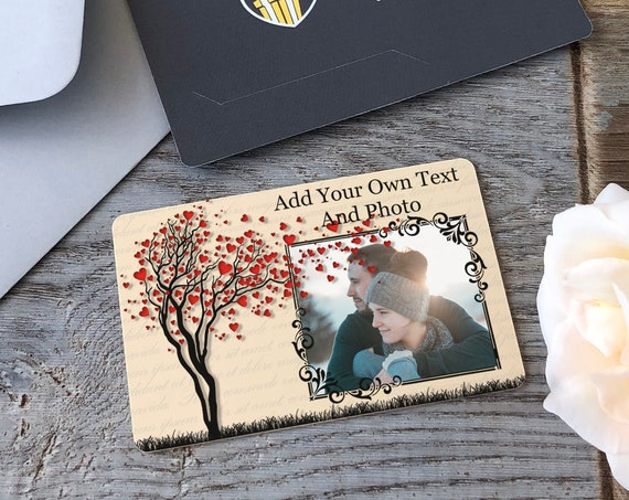 Photo Wallet Card Insert, Valentines Gift For Him, Custom Wallet Card Insert For Husband, Personalised Photo Card For Boyfriend