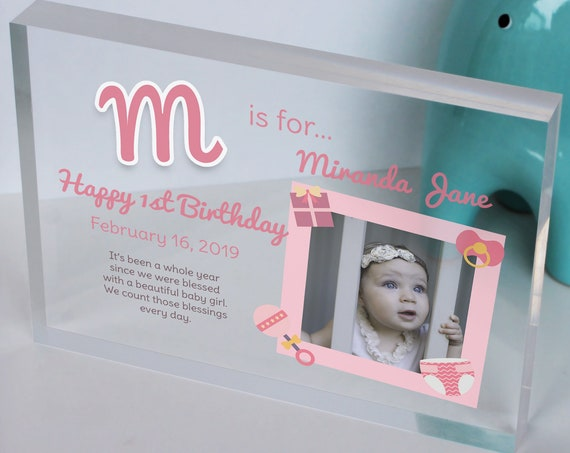 Baby Girl First Birthday Gift | 1st Birthday Present For Girl | 1st Birthday Picture Frame | Personalized Gift For Baby Girl