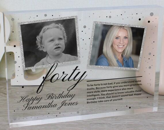 Custom 40th Birthday Photo Frame Gift For Her | Personalized 40th Birthday Gift For Wife | 40th Birthday Picture Frame