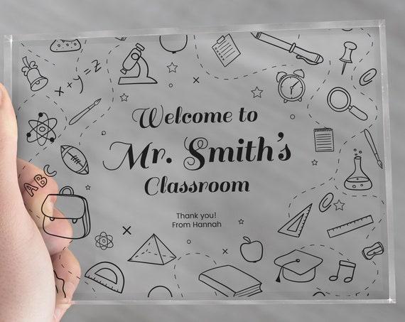 Personalized Teacher Gift | New Teacher Gift | teacher Appreciation | Math Teacher | Male Teacher | English Teacher | Teacher Sign