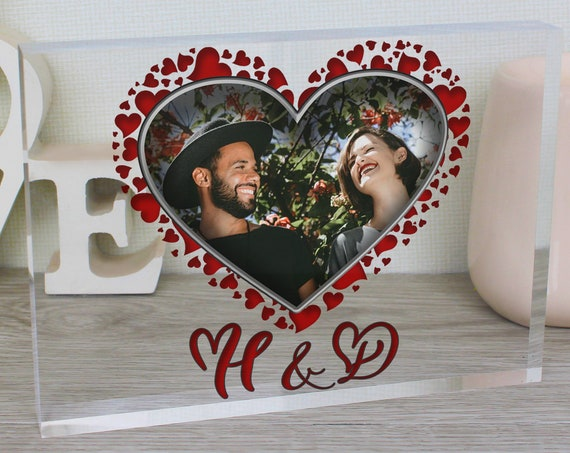 Valentines Gift Picture Frame, Custom Heart Frame For Husband, Wife, Girlfriend, Boyfriend, Custom Photo Frame For New Couples
