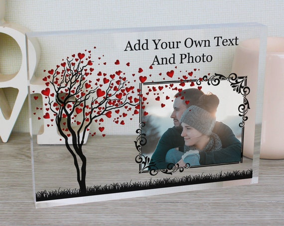 VALENTINES PHOTO FRAME | Personalised Glass Picture Frame | Couples Glass Frame | Custom Love Tree