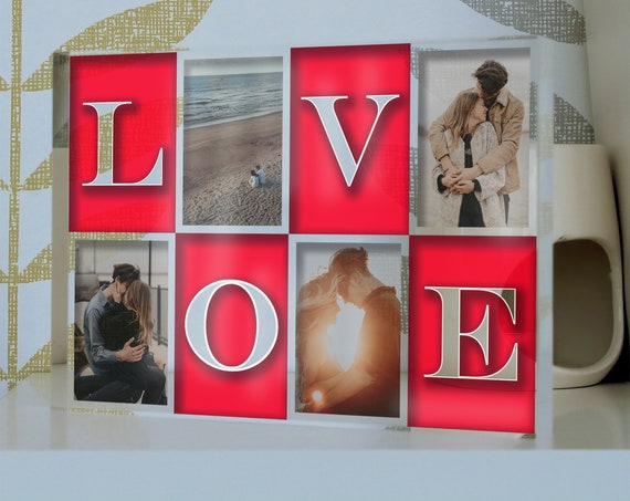 Personalized Multi Photo Frame | Love Collage Picture Frame | Valentines Gift For Him & For Her | Love Letters Picture Block
