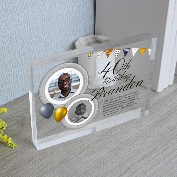 Custom 40th Birthday Photo Frame Gift For a Man | Personalized 40th Birthday Gift For Him | Dads 40th Birthday Picture Frame