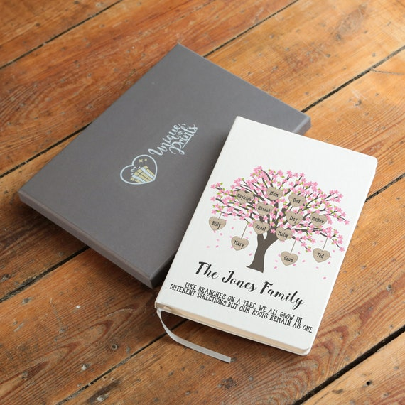 Custom Family Tree Notebook With Free Pen, Custom Family Tree Gift, Gifts For Mum, Personalized Journal