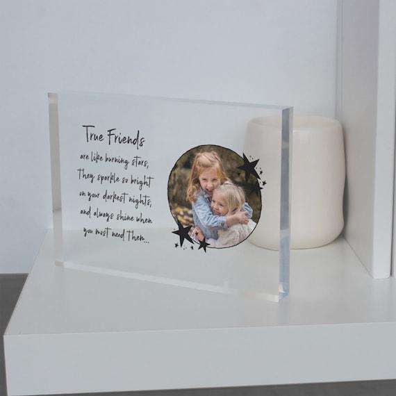 True Friends photo glass block gift, Gift idea for True Friends