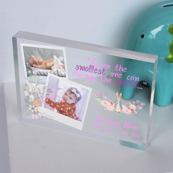Personalised New Baby Newborn Baby Girl Crystal Photo Block Present Birth Gift