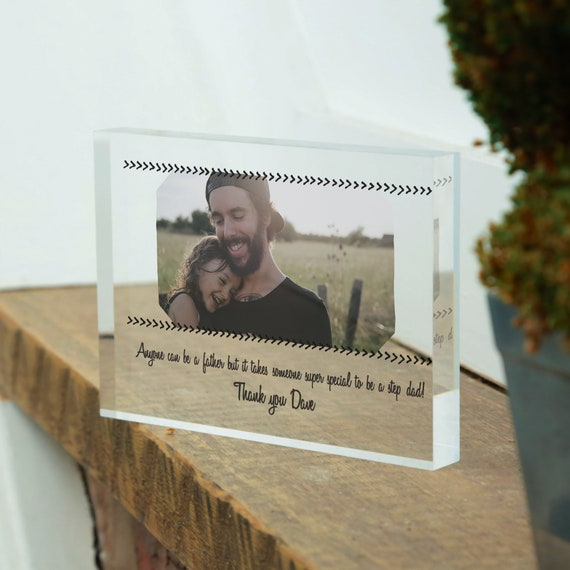 Gift for Stepdad, StepDad Photo Glass Block Gift, Stepdad gift idea