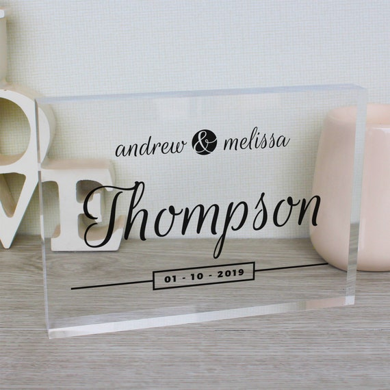 Unique Wedding Gift For Couple | Engagement Present | Wedding Date Sign | Wedding Gift Ideas