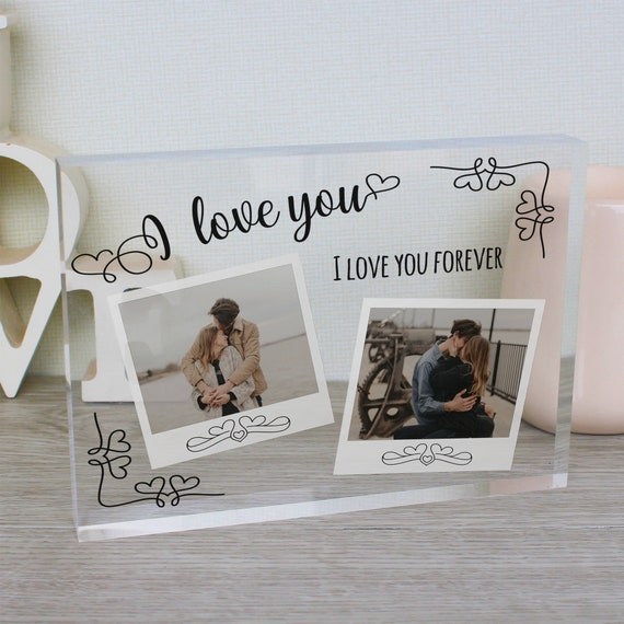 Polaroid Style Glass Block Picture Frame | Vintage Polaroid | I Heart You | Whimsical Photo Frame | Love Photo Frame