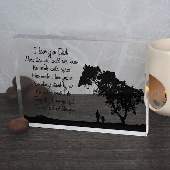 Gift Idea for Daddy, Father's Day Quote Glass Block